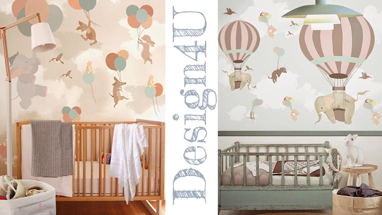 Idee per camerette neonati nursery design4u - Carta da parati adesiva per camerette ...